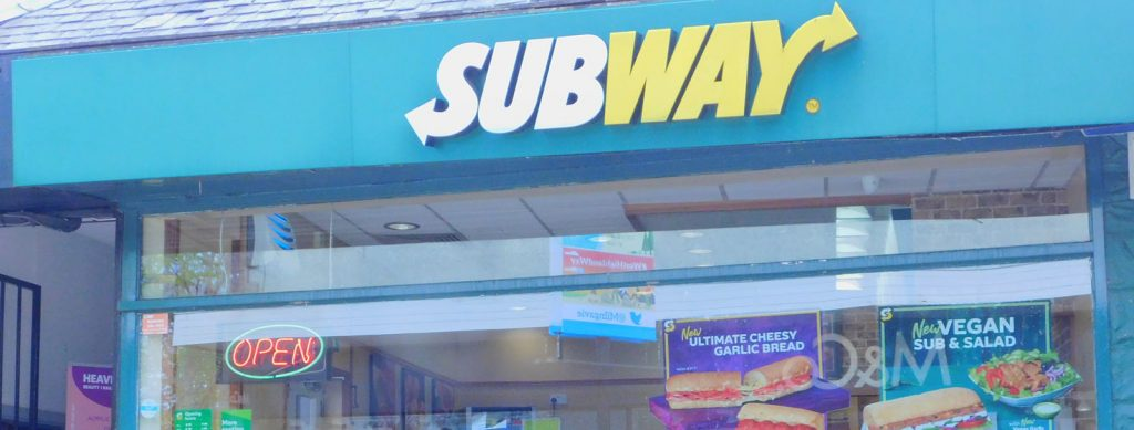 Subway take away sandwich Milngavie start of West Highland Way
