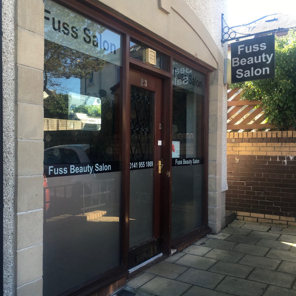 Fuss salon shop in Stewart street.