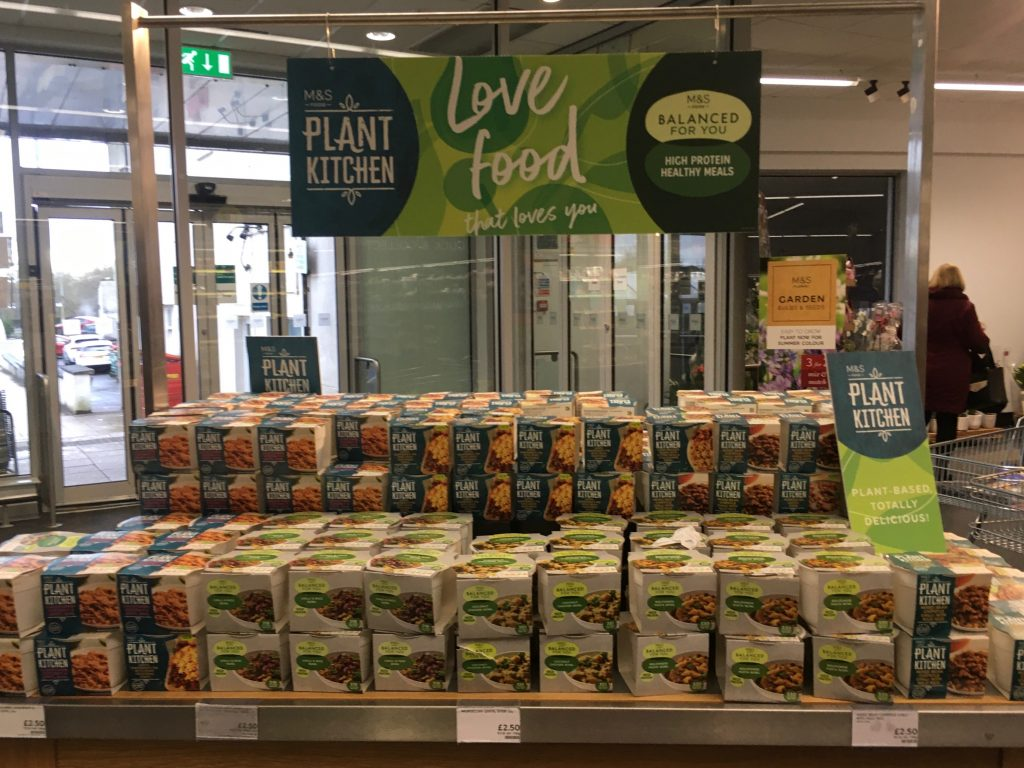 M&S plant based food product range as part of Veganuary in Milngavie