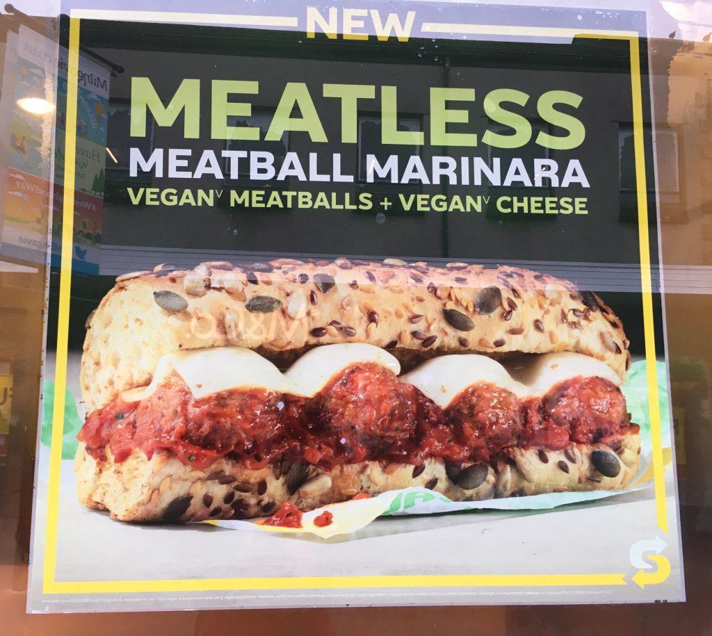 Subway meatless meatball marinara poster as part of Veganuary in Milngavie