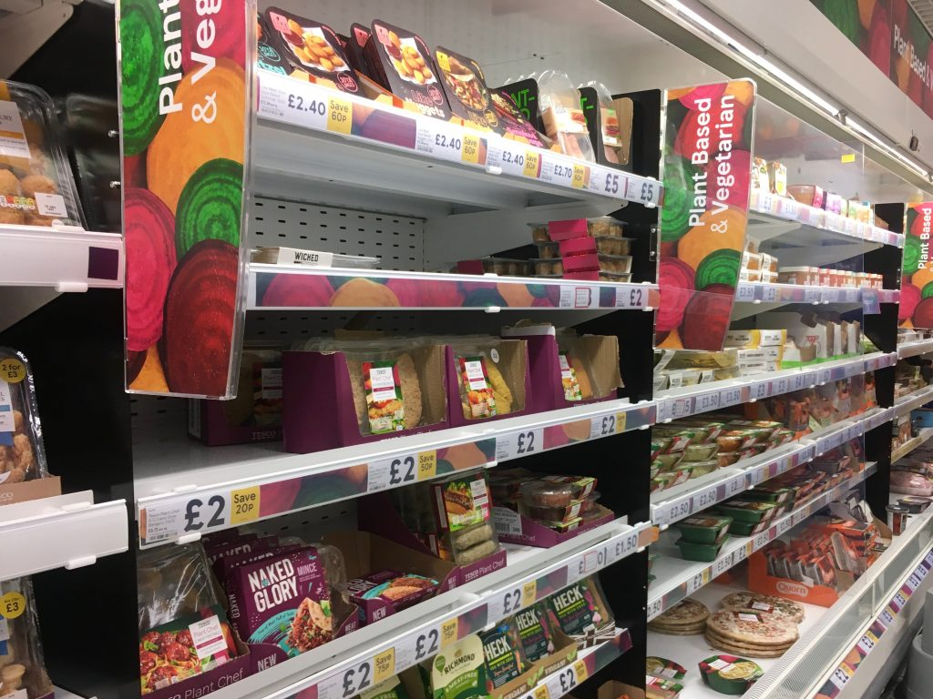 Tesco plant based foods displayed in the supermarket