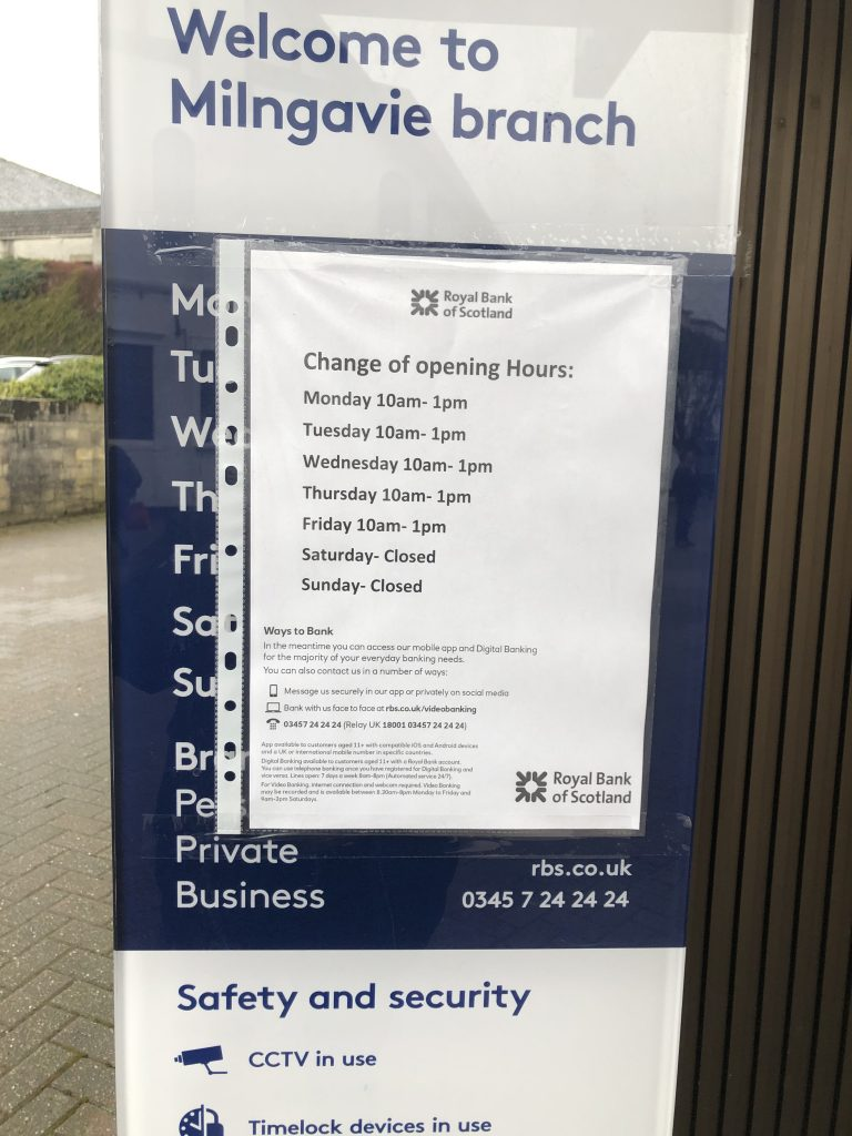 Royal Bank of Scotland opening times