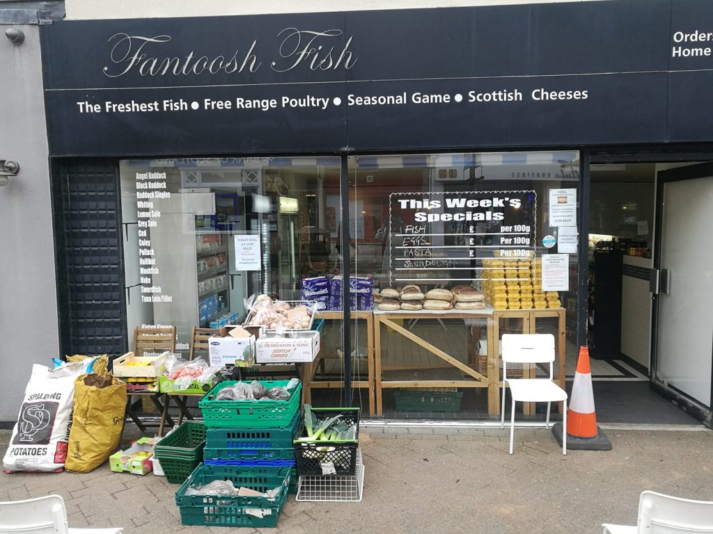 Fantoosh fish shop open for essential foods