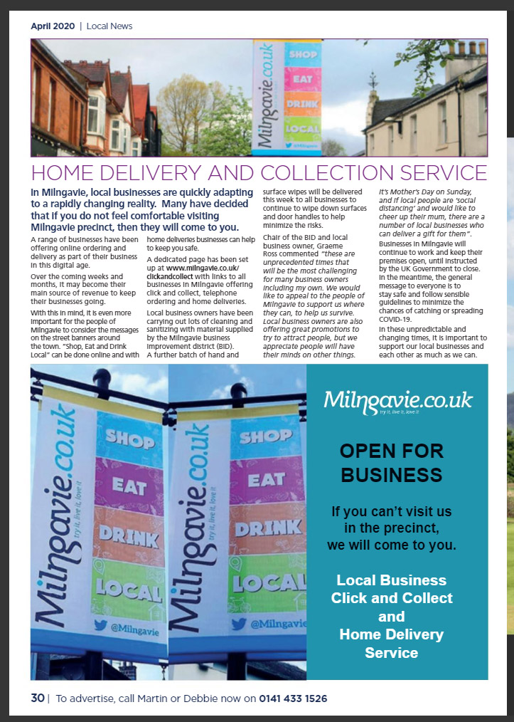 Bearsden and Milngavie magazine full page article on home delivery and collection service in Milngavie.
