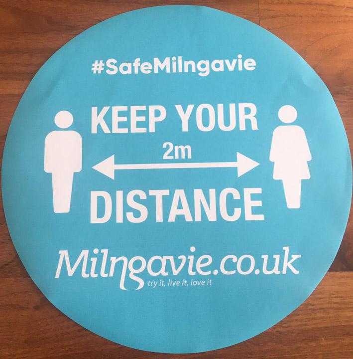 Milngavie preparation for after lockdown. Milngavie safe distancing floors tickers